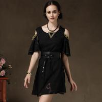 luxury new women 2014 vintage dress retro designer european style chiffon black/pink dress off the shoulder cocktail dresses