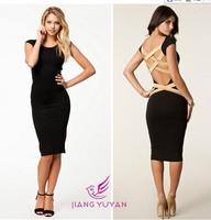 new sexy back halterneck backless crossed chiasmal belt back club sexy dress body fit slim