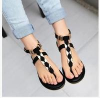 Fashion 2014 rivet pinch flat sandals flat heel flip-flop female gladiator shoes fashion women's sandals flats