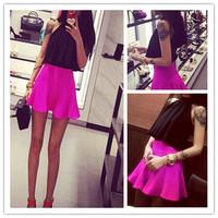 2014 new faux two piece chiffon shirt bust skirt set