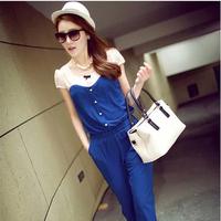 Dropshipping ! 2014 Korea  Hot sale Short sleeve jumpsuits Slim jumpsuits