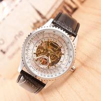 2014 New Famous Brand Fashion Casual Stainless Steel Men leather Mechanical waterproof Watch Skeleton Watch Dress Wristwatch