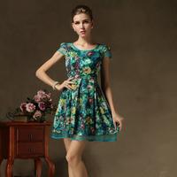 green dress women summer casual dress print vintage chiffon flower floral dress lolita retro american apparel topshop summer