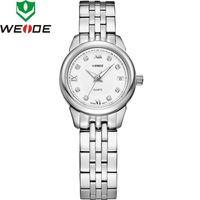 2014 WEIDEWrist Watches Sapphire Swiss Ronda Quartz With Date White Dial Waterproof 8 Austria Crystals Women Watches 93009GW
