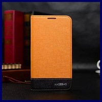 New 2014 note2 Contrast color flip cover for Samsung galaxy note 2 N7100 PU leather shiny phone bags cases with stand