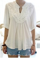 2014 New Arrival Fashion Lace Splicing Crochet Flower 1/2 Sleeve Casual Blouse For Women In Summer Women's Sexy Lace Top