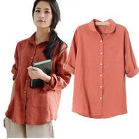 New 2014 Fashion Women Blouses Solid Color Peter Pan Neck Long Sleeve Cotton Linen Blend Blouse Long Shirts Blusas Femininas