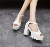 2014 Fashion Solid Denim Square heel Trifle waterproof Platform shoes for women ladies Casual shoes wihte