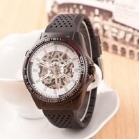 2014 New Famous Brand rubber Fashion Casual Stainless Steel Men Mechanical waterproof Watch Skeleton Watch Dress Wristwatch