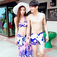 Lovers swimwear steel push up swimwear beach lovers set beach hot spring swimwear