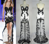Best Selling Vintage Black White Or Champagne Sweetheart Lace Prom Dress Sexy Formal Dress High Low Party Dress BWP103