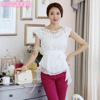 2014 Brand New Summer all-match Elegant Slim Waist Lace Chiffon Shirt Short-sleeve Tops Basic Shirt For Women Belt Plus size