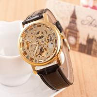 Leather band New Famous Brand Winner Luxury Fashion Casual Stainless Steel Men Mechanical Watch Skeleton Watch Dress Wristwatch