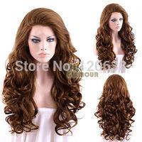 "peruvian virgin Long Curly Wavy 26"" Brown Lace Front Synthetic WigKanekalon Fiber Hair wigs Free Shipping"