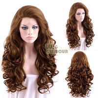 "peruvian virgin Long Curly Wavy 26"" Brown Lace Front Synthetic WigKanekalon Fiber Hair wigs Free Shipping"