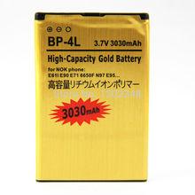 New Business 3030mAh High Capacity Gold BP-4L Golden BP 4L Battery for Nokia E63 E71 E72 E73 N97 Batterie Batterij Bateria