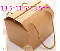 Wholesale 50pcs/lot 13.5*11.5*13.5cm Dessert Cake packaging Boxes, Food Bread Biscuit packaging bag kraft