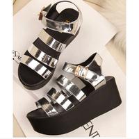 2014 summer platform wedges comfortable paltform shoes buckle fashion brief women's flat sandals free shipping comfortable
