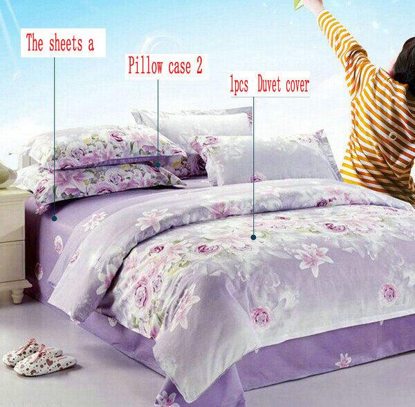 Hot Queen size 4 pcs jogo de cama capa de edredão 100% algodão luxo impressão roupa de cama roupas de cama folha de cama set fronha colcha(China (Mainland))