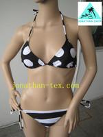 round with stripes design black and white sexy ladies bikini swimwear