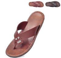 CFD001 2014 summer new men's PU leather slippers flip flops England men's beach sandals free shipping