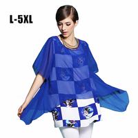 High quality L XL XXL XXXL 4XL 5XL Plus Size Women Blouse Shirt 2014 Summer Fashion