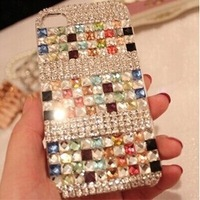 New  Rhinestone crystal case for iphone 5 5s iphone 4 4s diamond mobile phone case hard back skin case protective shell