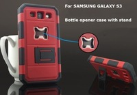 For Samsung Galaxy S3 SIII i9300 Rugged Hybrid Beer Bottle Opener Case Hybrid PC Silicone Combo Stand ShockProof  Case Cover