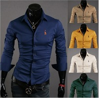 2014 new!  Men's fashion men's long sleeve shirt Slim fawn solid embroidered shirts