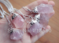 SN-043 Silver Or Gold Dipped Rose Quartz Crystal Necklace, Rough Pink Crystal Necklace