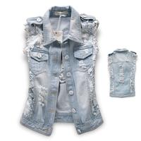 Autumn 2013 Street Fashion Lace Patchwork Denim Vest Stone Washed Super Denim Outerwear Female Jacket Free Shipping