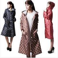 2014 New Women Ladies Polka Dot Button Outdoor Travel Waterproof Riding Clothes Raincoat Poncho Hooded Long Rainwear