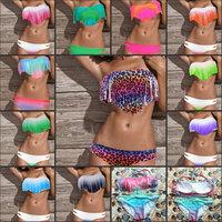 SEXY Lady's Tassel PAD Bandeau Fringe Top+Bottom BIKINI BEACH Swimsuit SWIMWEAR