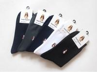 Free Shipping 2014New Fashion men cotton sockscasual men socks solid color Dog pattern socks absorb moisture sock 20piece=10pair