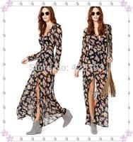 Free Shipping Casual Women Multi-Color Dip Dye Floral Shirred Waist Chiffon Long Cardigan Shirt Blouse Maxi Dress 6 Sizes