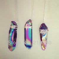 H-QN20 Rainbow Titanium Quartz Crystal Point Necklace 24K Gold or Sliver Plated Chain