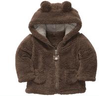 2014 spring autumn Coral velvet baby jacket/coat long-sleeved hooded infant boy girl carter thick tops
