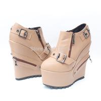 2013 wedges platform boots plus size 43 small 31, women's high-heeled shoes zipper boots