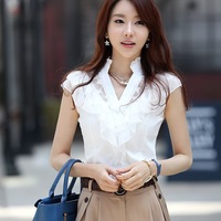 Brand New Fashion 2014 Summer Lace V-neck Slim Women's Cutout Fly Short-sleeve Chiffon Shirt Hollow out Tops Women's Blouses