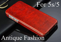 2014 New hot sell Vintage orginal brand fashion antique Pu leather case cover for apple iPhone 5s 5G wholesale free shipping