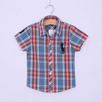 2014 NEW Polo Shirt Boy Boys Plaid Shirt Summer Kids Tops High Quality Cotton Children Shirt
