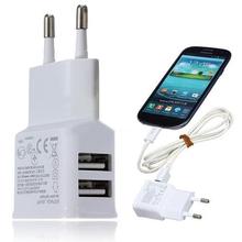 Dual USB 2-Port Wall Charger Adapter EU Plug For Samsung Galaxy iphone ipod(China (Mainland))