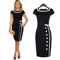 2014 New Arrival Sexy Women High Quality Dress Brand Elegant Vintage Plus Size XXL,XXXL Black Slim Dresses Free Shipping
