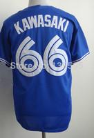 Wholesale!Cheap,#66 Munenori Kawasaki Men's Blue 2014 New Embroidery logos Baseball Jerseys Sale,Can mix order
