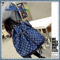Latest Arrival Full Print Fashion Brand Design Denim Bucket Handbags Women Hottest 100% Handmade Messenger Bags Shoulder