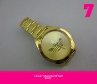 New Army Sport Style Fashion  Watch  Three Leaf Clover Steel Band Belt Gold Wristwatches Quartz  for Men Boys Free shipping