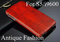 New orginal fashion Luxury Vintage antique Pu Leather flip case cover for Samsung Galaxy S5 I9600 mobile phone case 6 hot color
