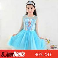 Hot Sale Frozen Elsa Dress Lace Tutus Yarn Long Sleeve Girls Dresses Fashion Frozen Party rincess Kids Clothes One Pieces