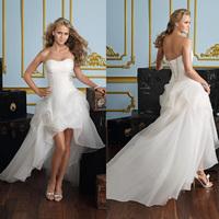 Low-high 2014 tube top sweet fashion wedding dress formal dress wedding dress back lace up women's sexy wedding dress