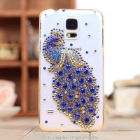 1pcs For SamsungGalaxy S5 i9600 diamond phone case protective cover peacock Rhinestone luxury skin casing mobile phone sleeve